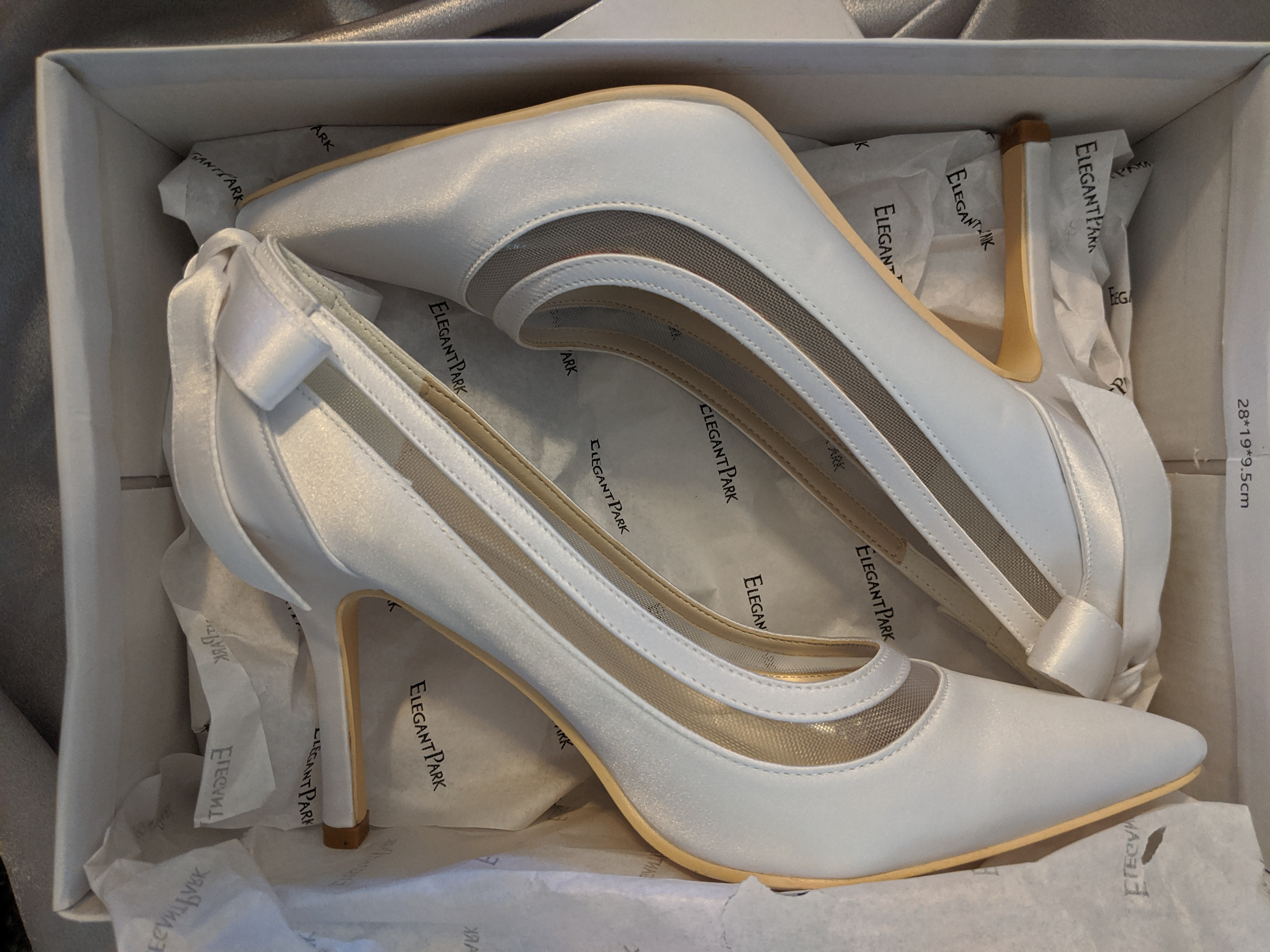 Elegantpark High Heel White Satin Bridal Shoes With Bow And Pointed Toe