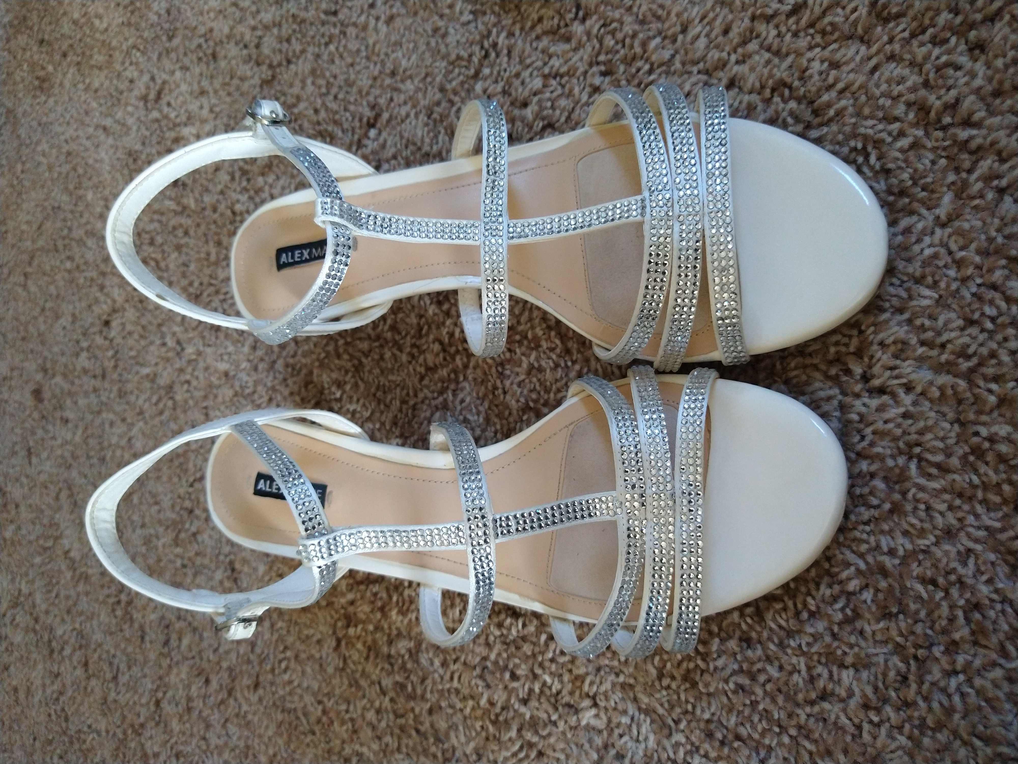 Kitten Heels, Off White With Sparkle Detailing