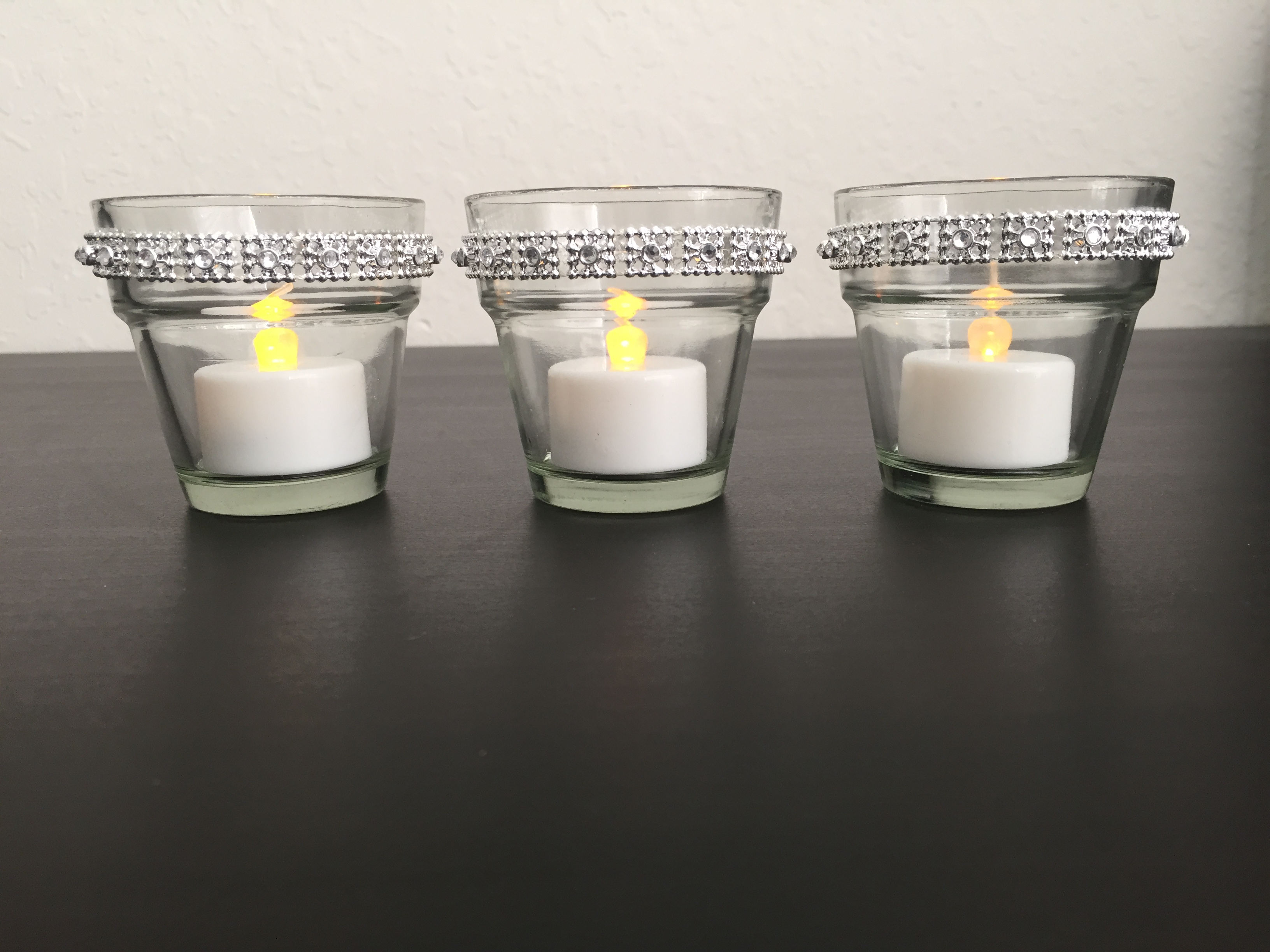 Glass Votive Candle Holders With Silver Rhinestone Band