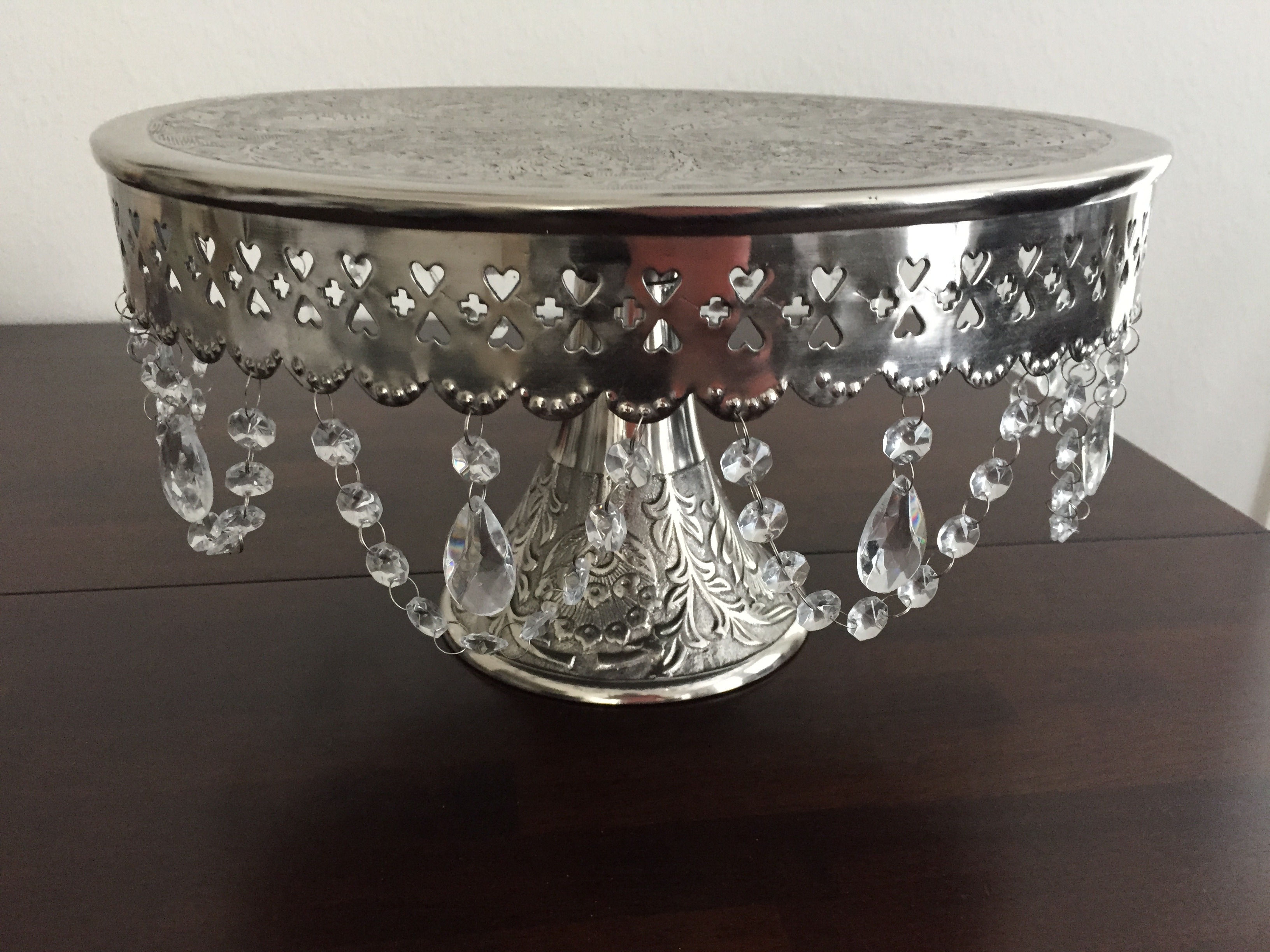 Silver Cake Stand With Glass Crystals 16 Inch