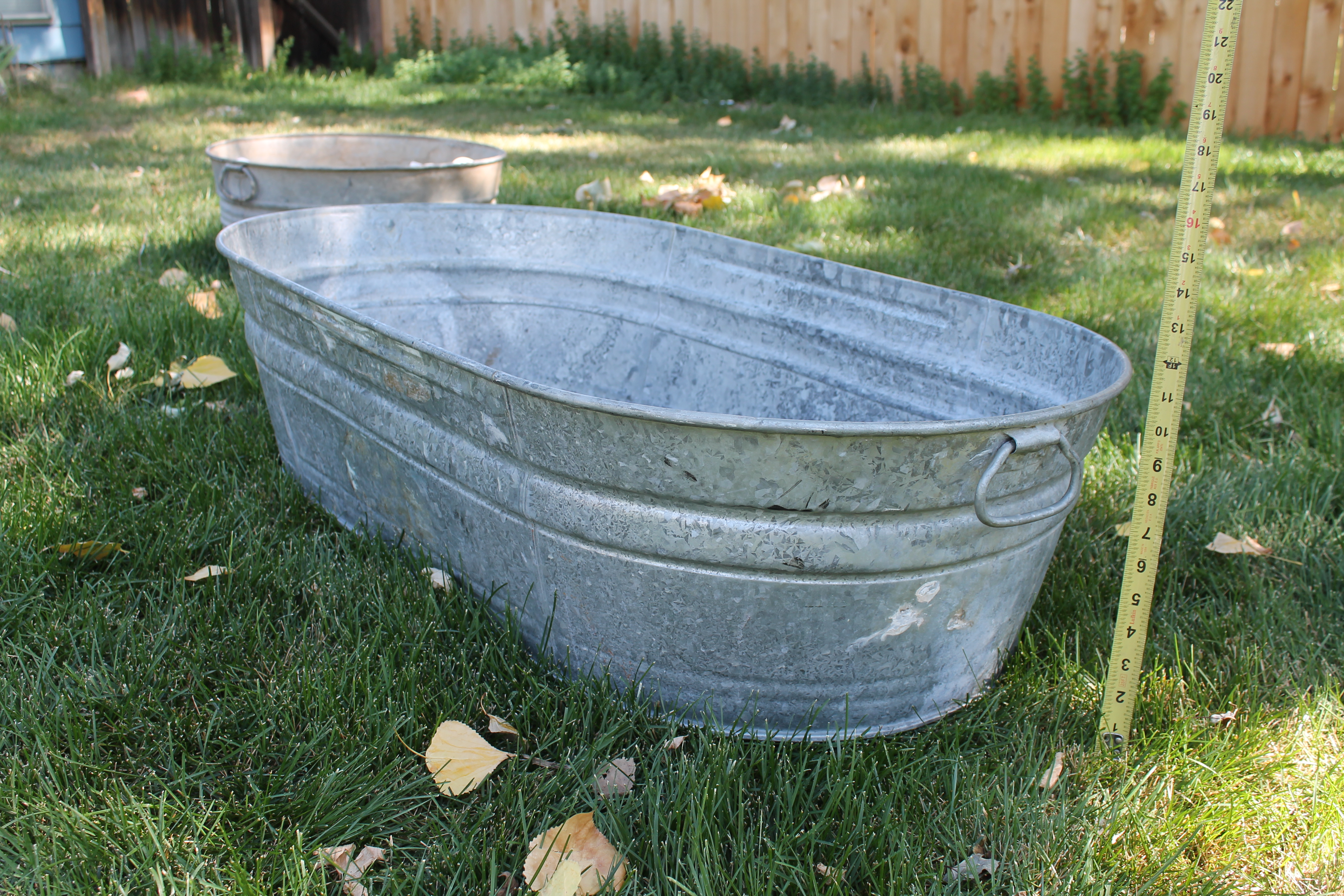 Oval Corrugated Metal Rustic Tub