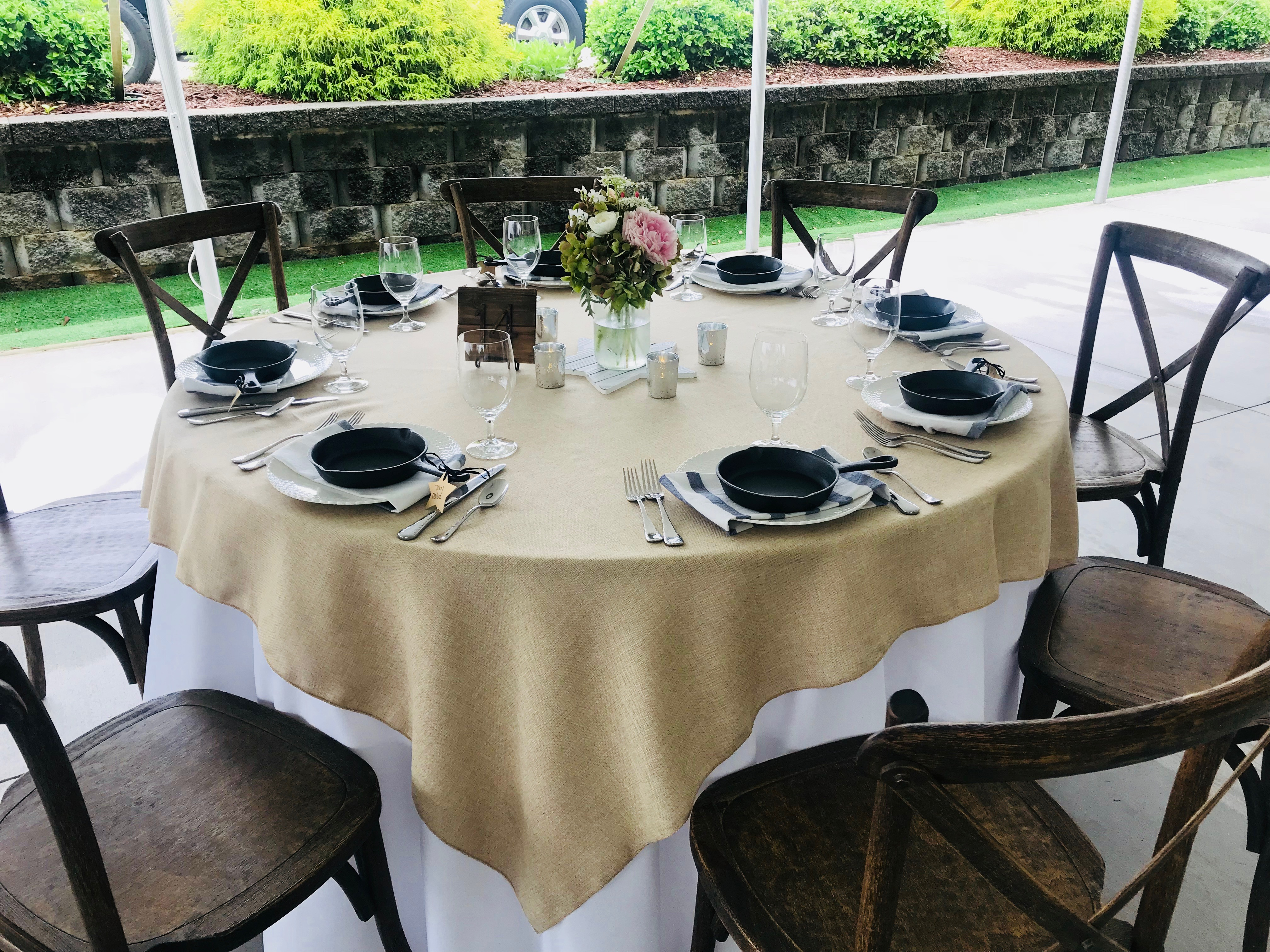 19, 72 Inch By 72 Inch Faux Burlap Tablecloths.  Excellent Condition.