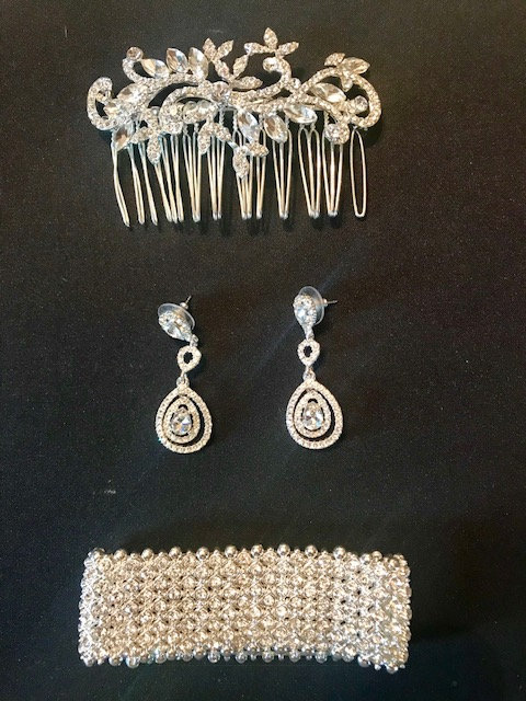Crystal Hair Comb, Earrings And Bracelet