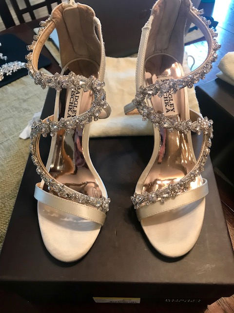 Badgley Mischka Embellished Wedge Sandals