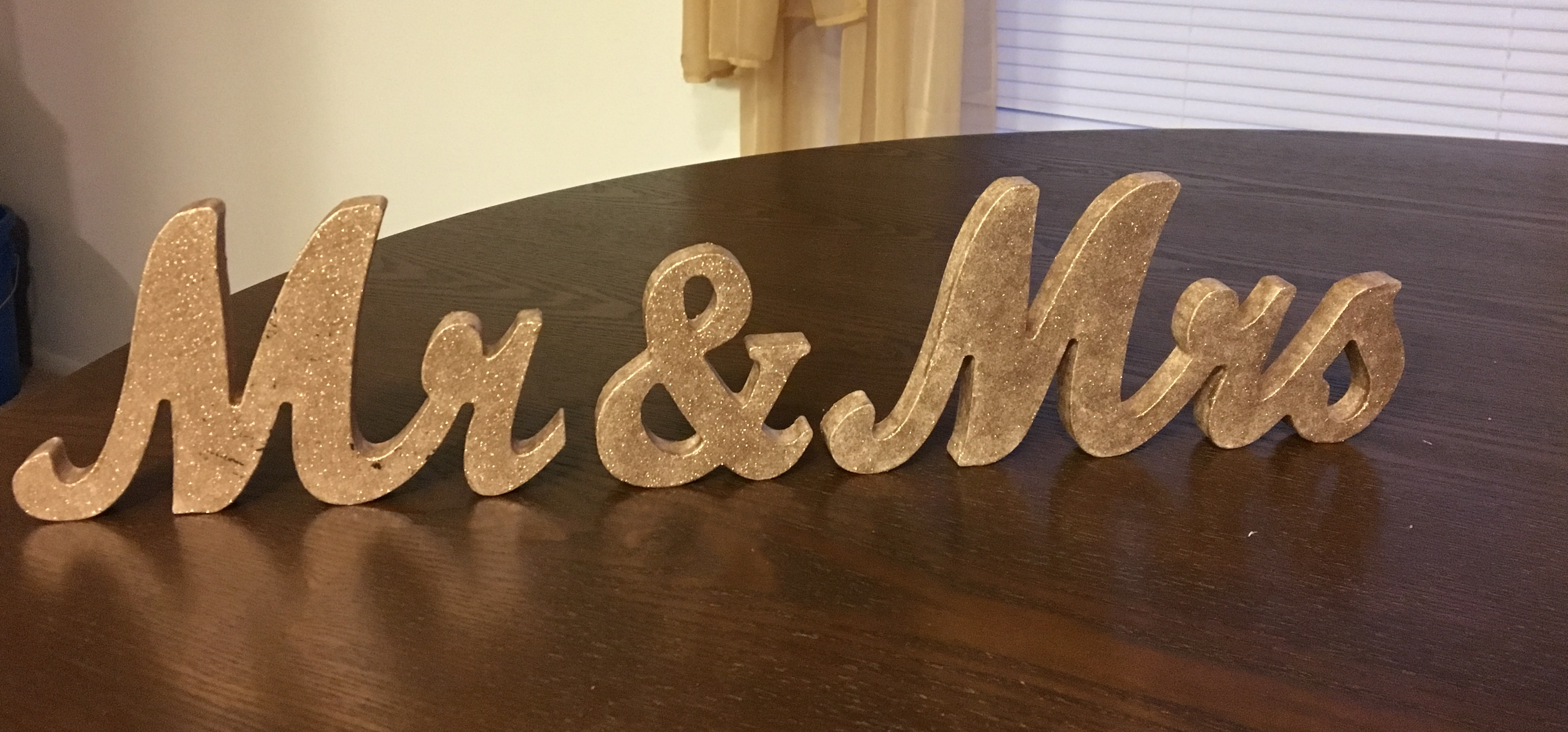 Mr. And Mrs. Wooden Wedding Signage With Sparkle Gold Paint