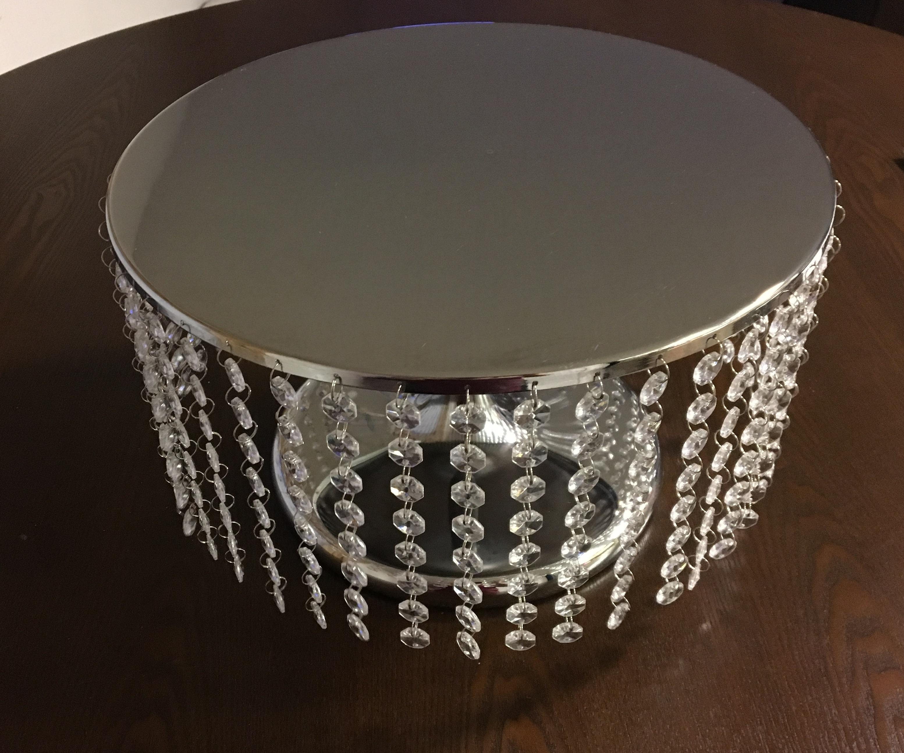 Elegant Jeweled Silver Wedding Cake Stand 13.5 Inch Diameter
