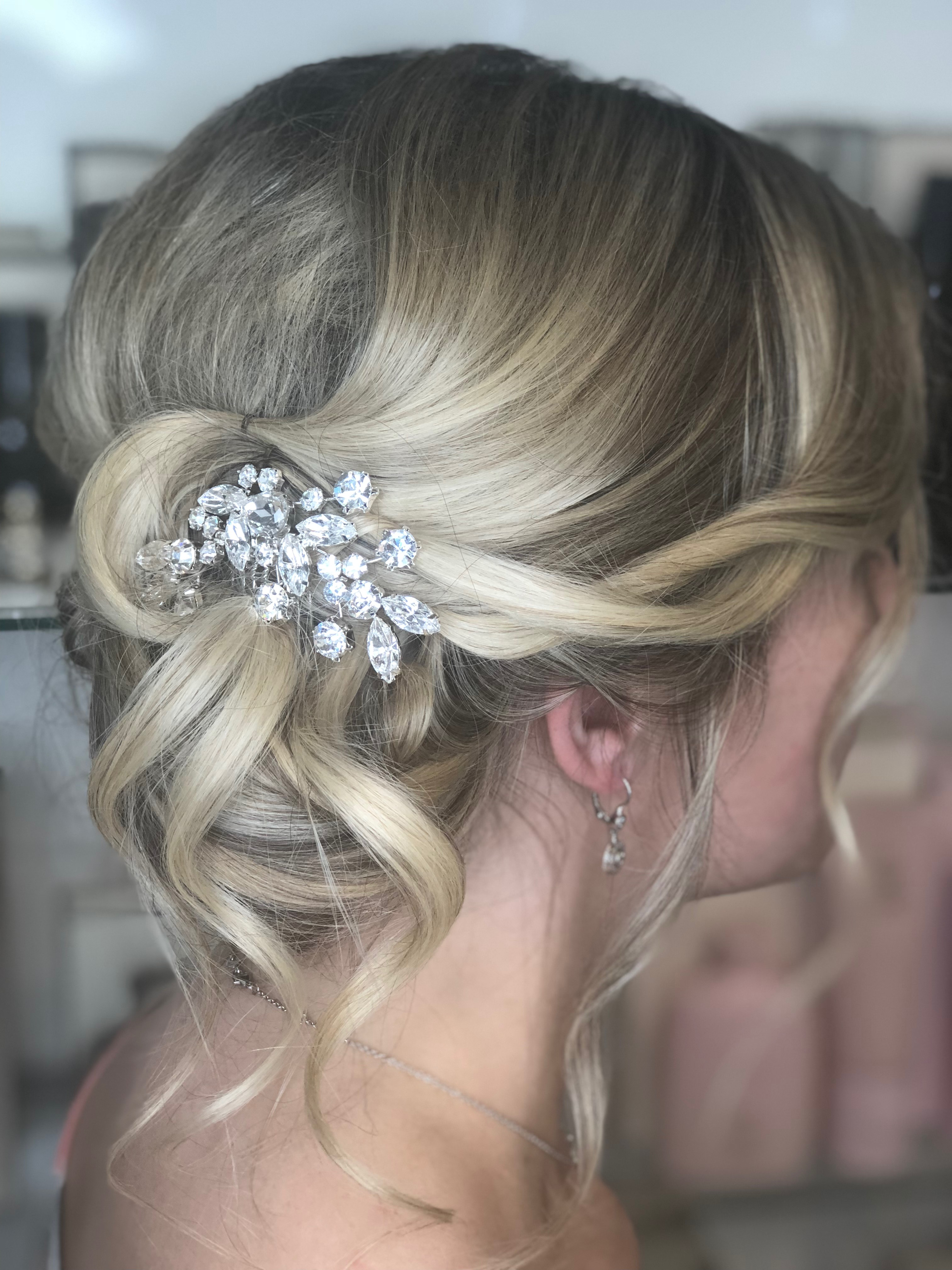 Elegant Rhinestone Silver Bridal Wedding Comb Hairpiece