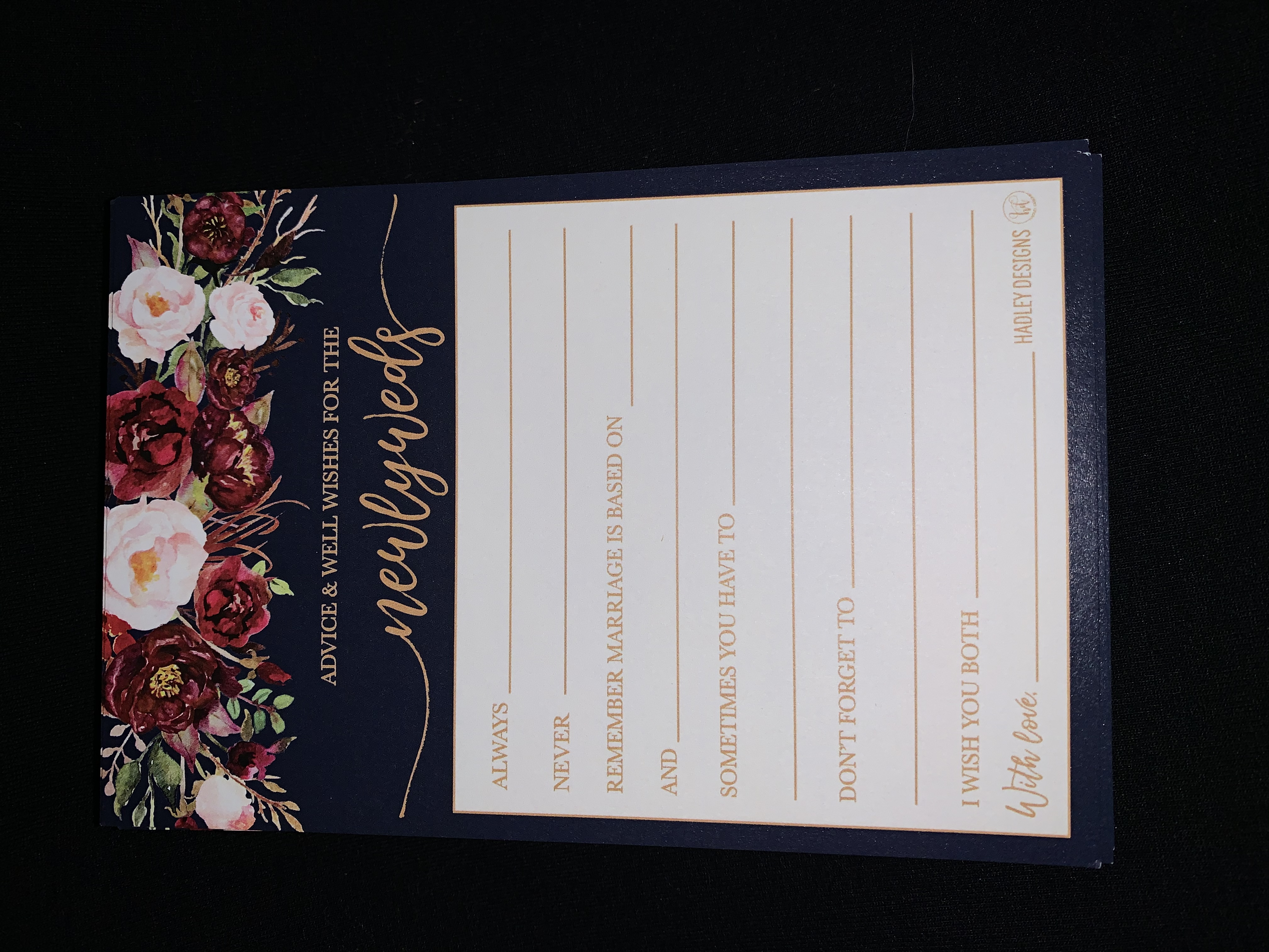 Advice & Well Wishes For The Newlyweds Cards