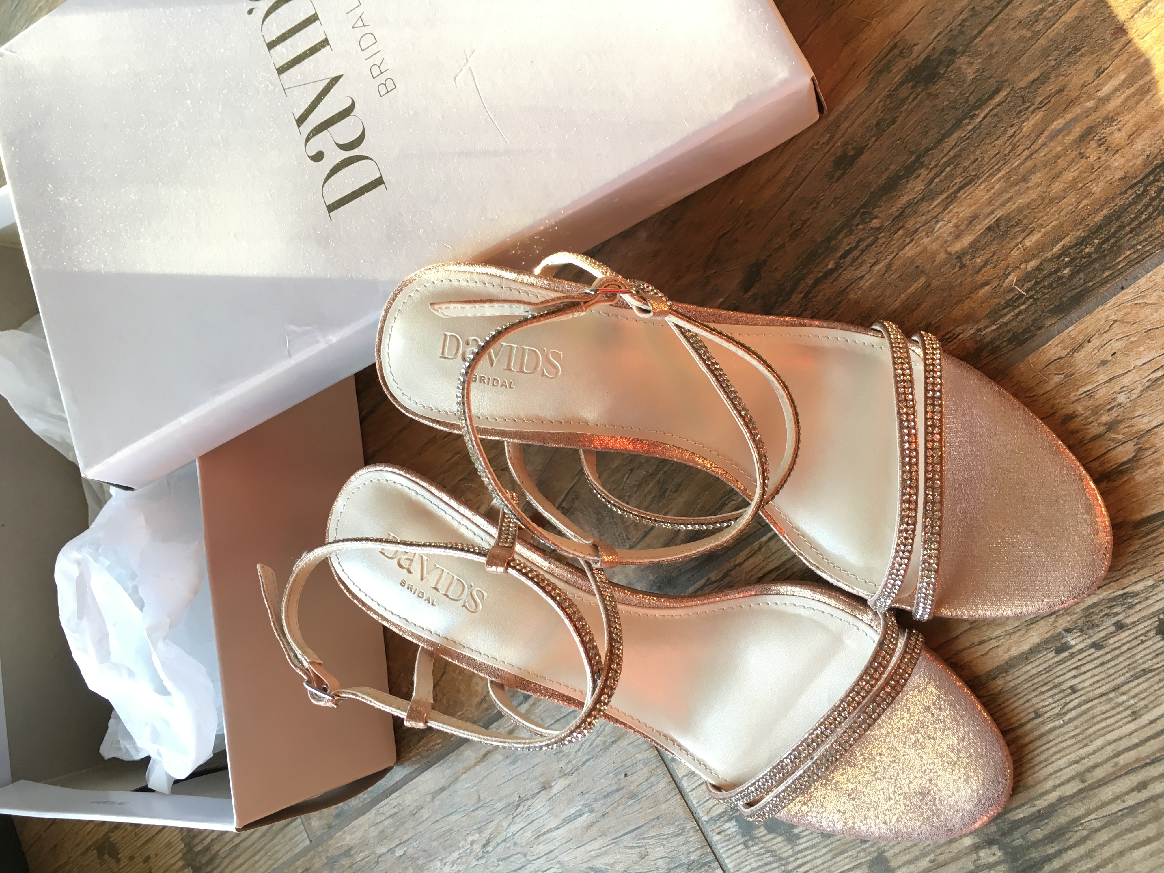 Skinny-strap Crisscross Glitter Heels (in Rose Gold)