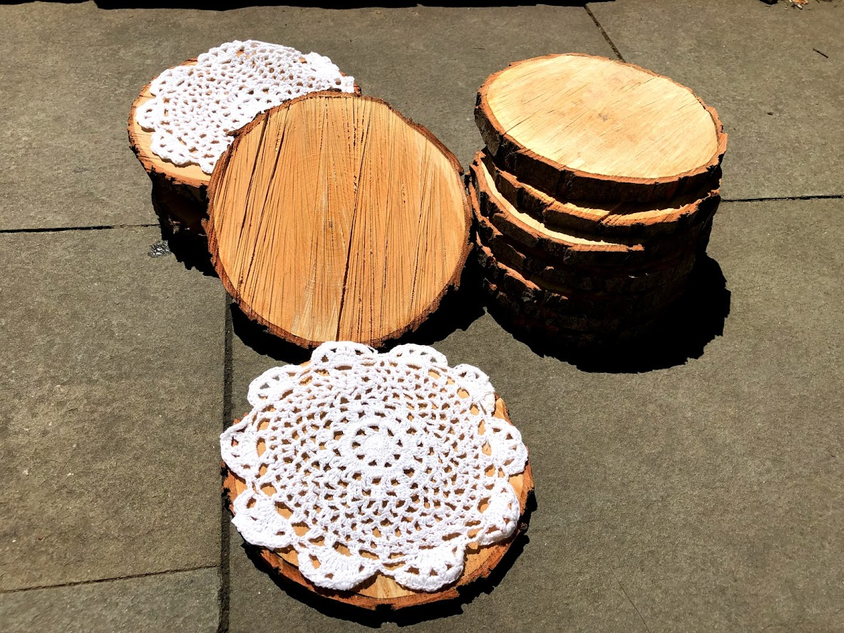 Wood Disks For Rustic Centerpiece