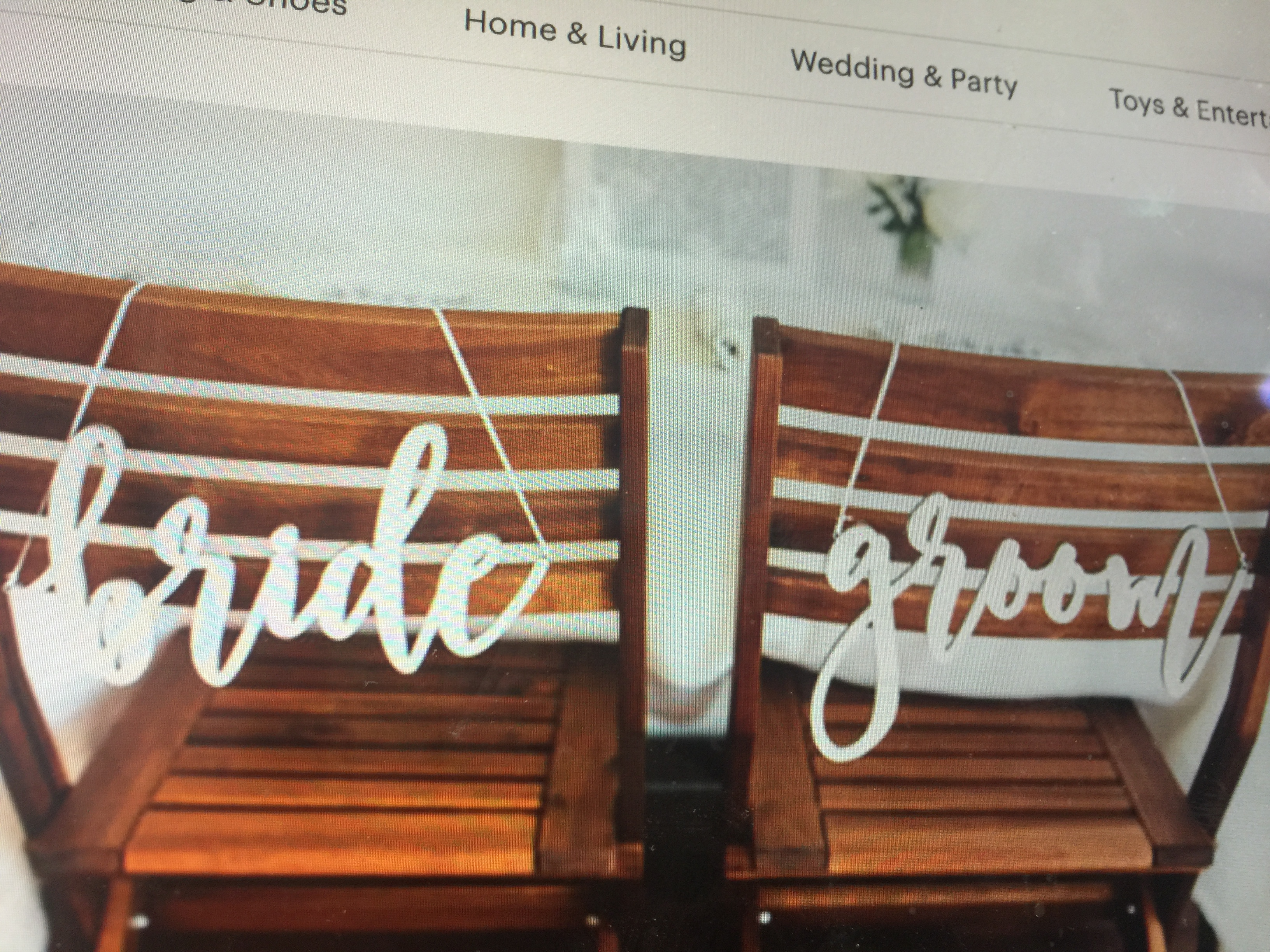 Bride & Groom Chair Signs, Set Of Two