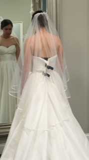 Simple Finger Tip Length Veil With Ivory Ribbon Edge