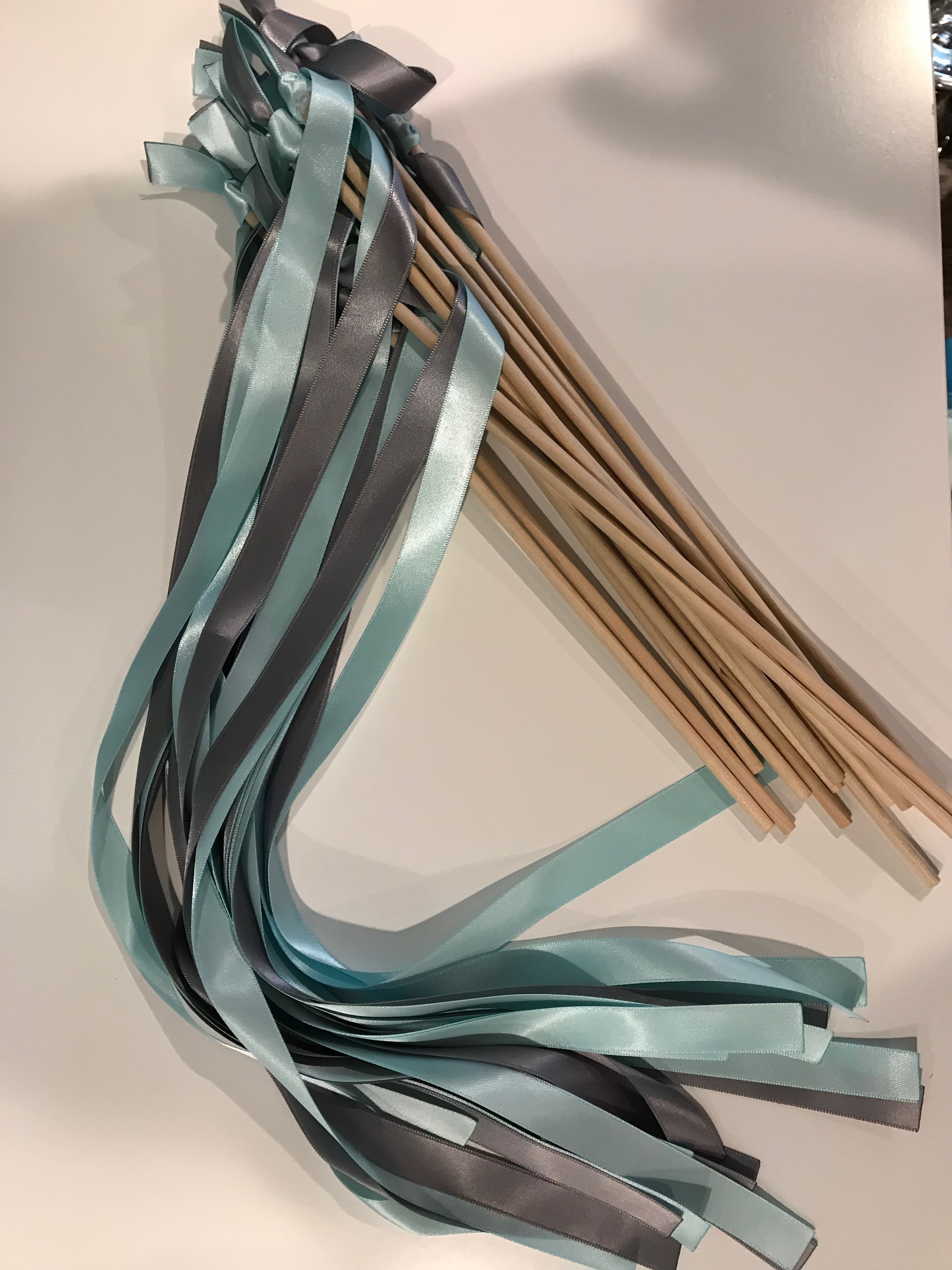 15 Turquoise And Gray Ribbon Wands