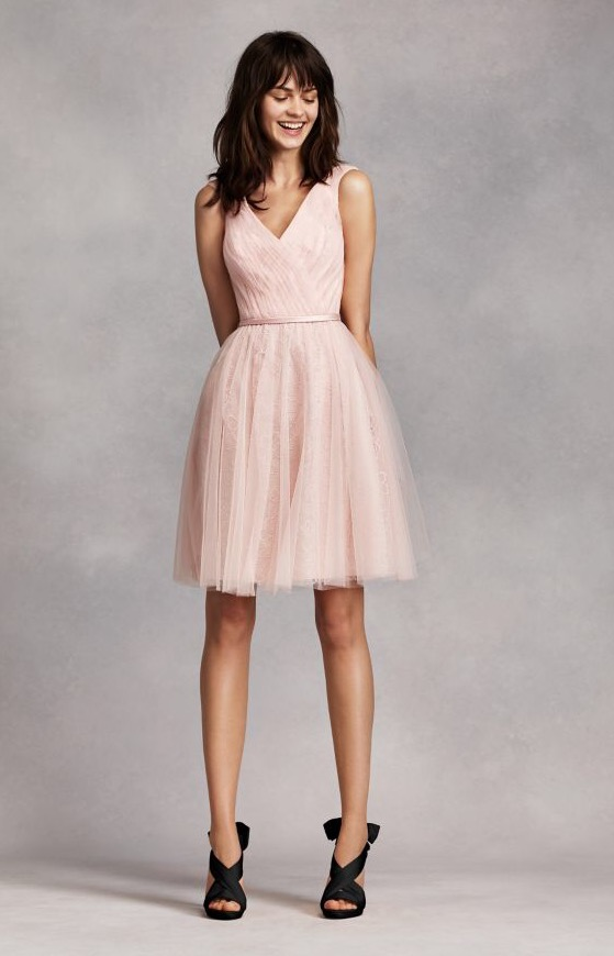 Vera Wang (unworn) Blush Sleeveless Tulle Over Lace Dress