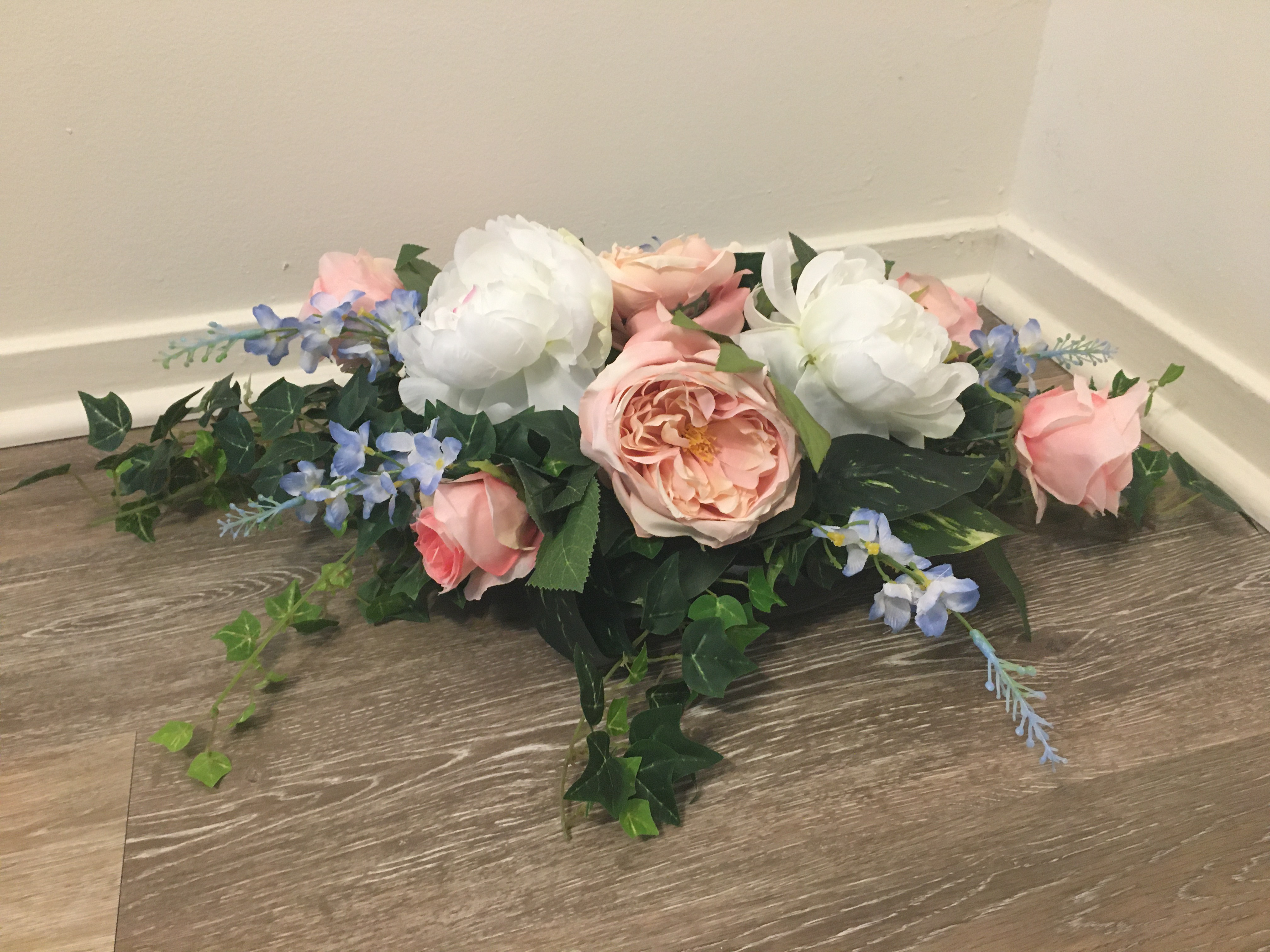 Pink, Light Blue And White Flowers