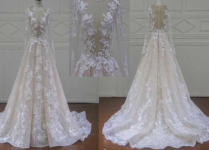 New Custom Made Long Sleeve Lace Wedding Dress