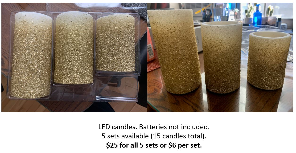 Gold Led Sparkle Candles - Set Of 3 Candles All Different Heights