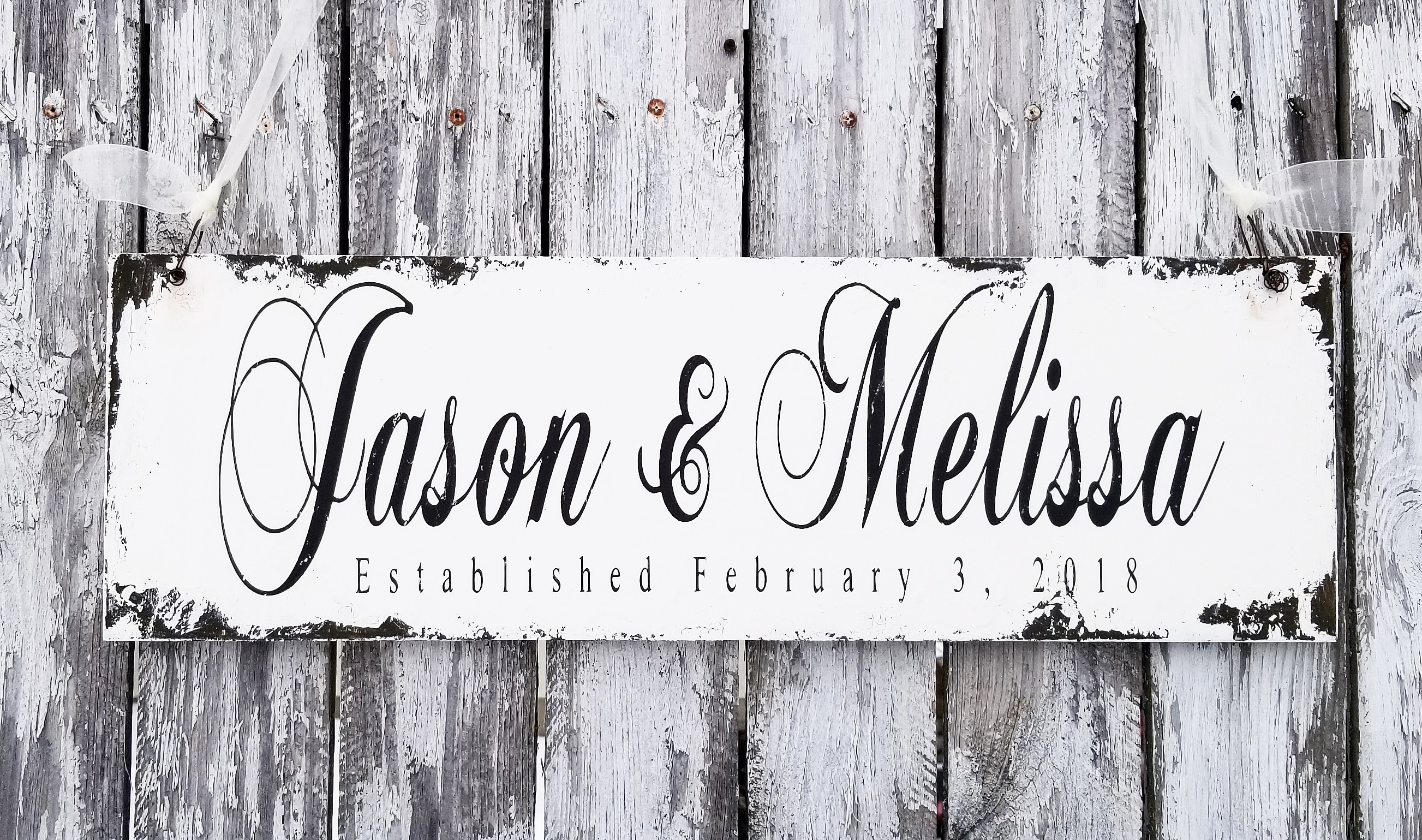 Custom Established Name Sign | Personalized With Names & Date | Cns-18