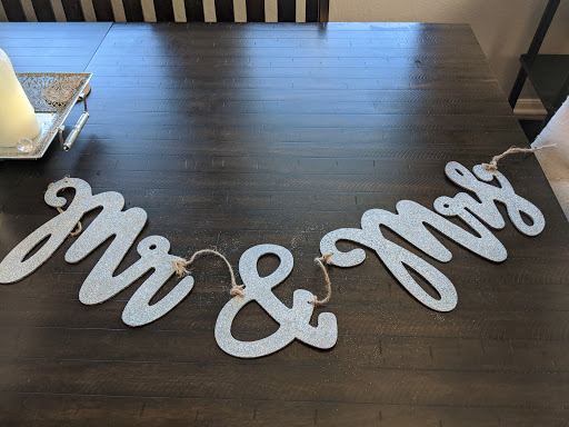 Mr. & Mrs. Silver Sparkly Banner