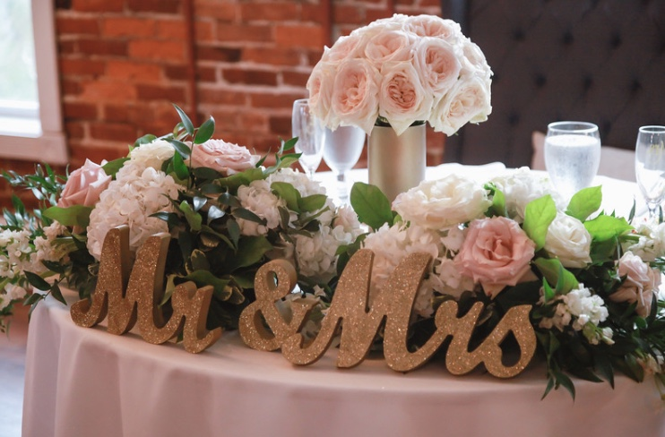 Mr. And Mrs. Gold Glitter Letters