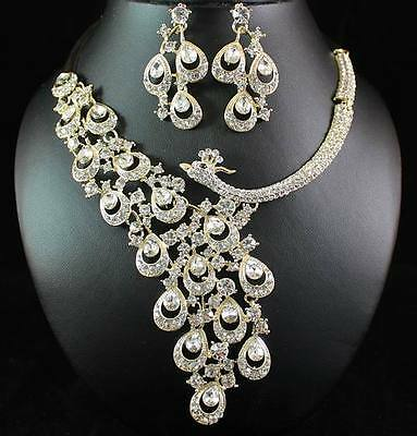Sale! New Gold Austrian Rhinestone Crystal Necklace Earrings Set