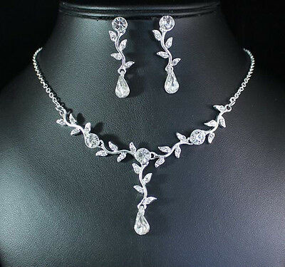 New Floral Cluster Rhinestone Crystal Necklace Earring Set