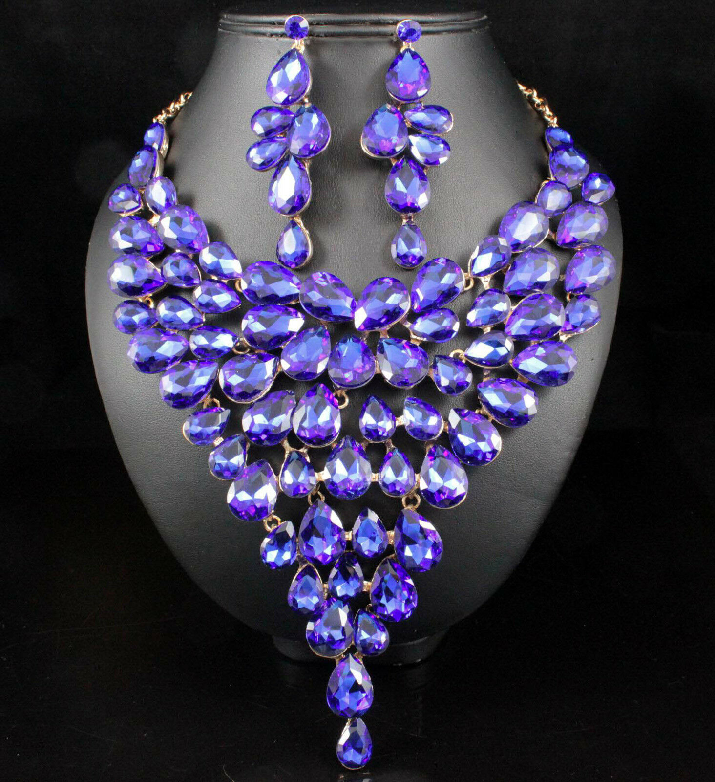 New Sapphire Austrian Rhinestone  Crystal Necklace Earring Set