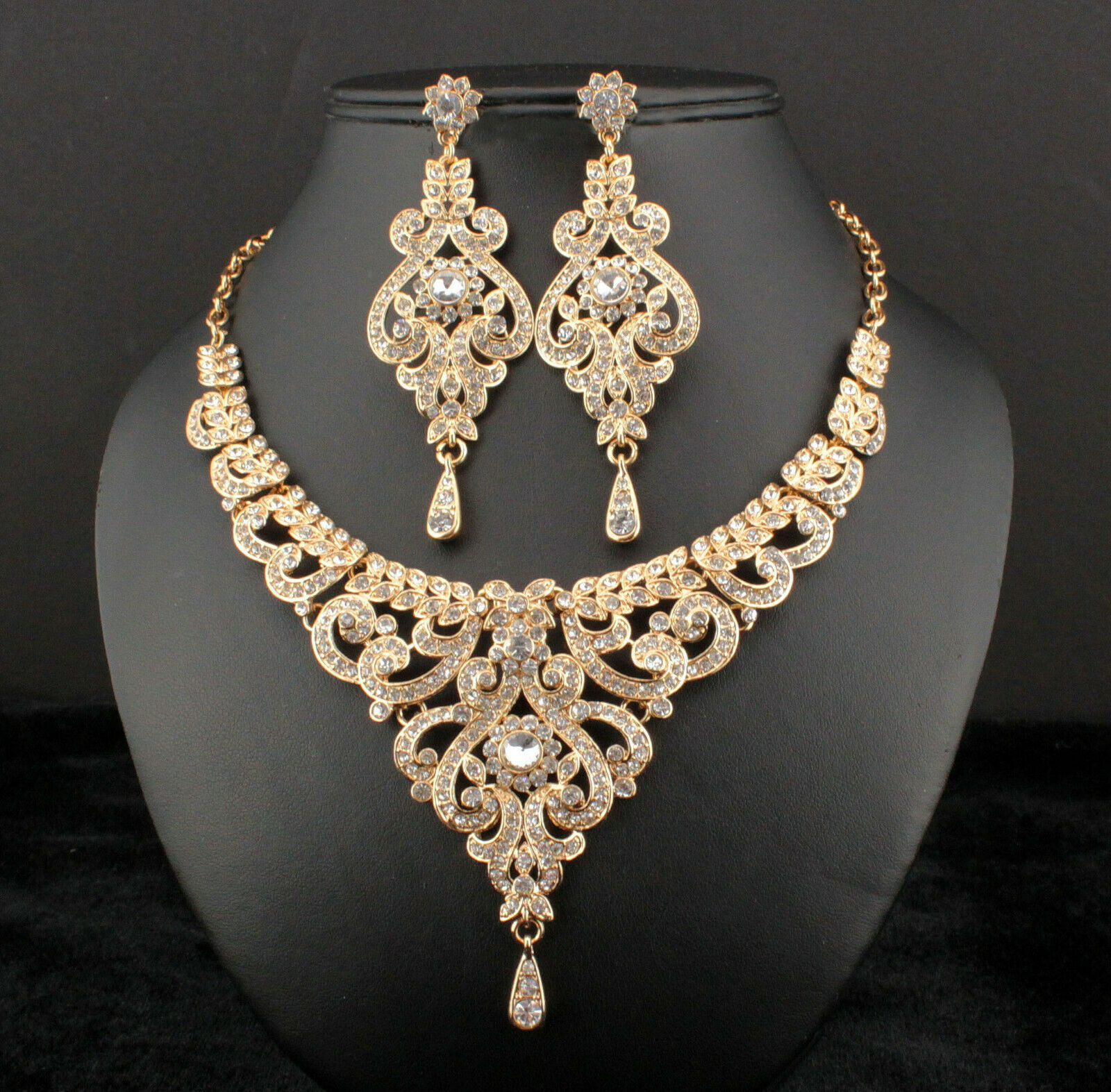 Sale! New Art Deco Vintage Gold Austrian Rhinestone Crystal Necklace Earrings Set