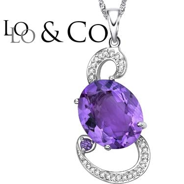 New Perfect Lolo & Co 4.68 Carat Tw ( Eclipse ) Amethyst & Genuine Diamond Platinum Over 0.925 Sterling Silver Pendant With Chain