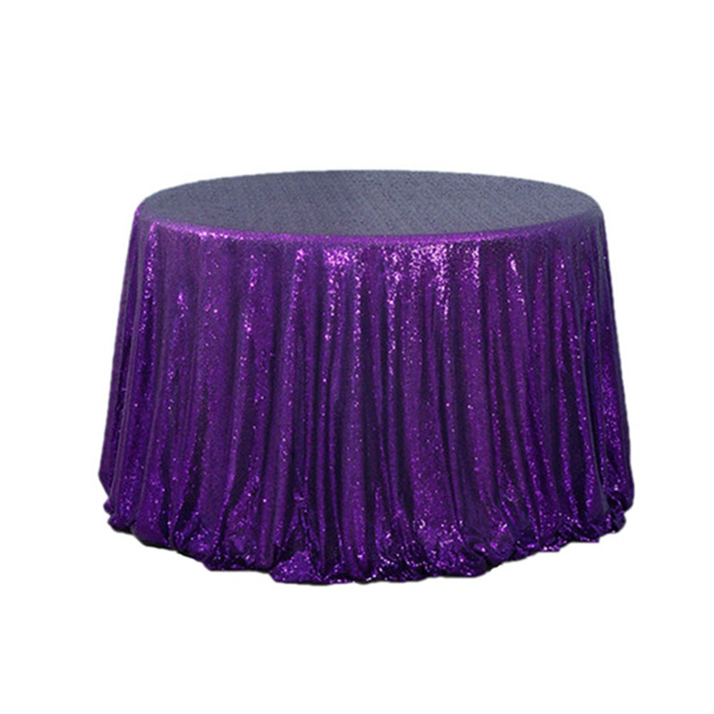 (5) Sequin Cake Round Purple Sequin Tablecloth For Wedding Party Banquet 120""