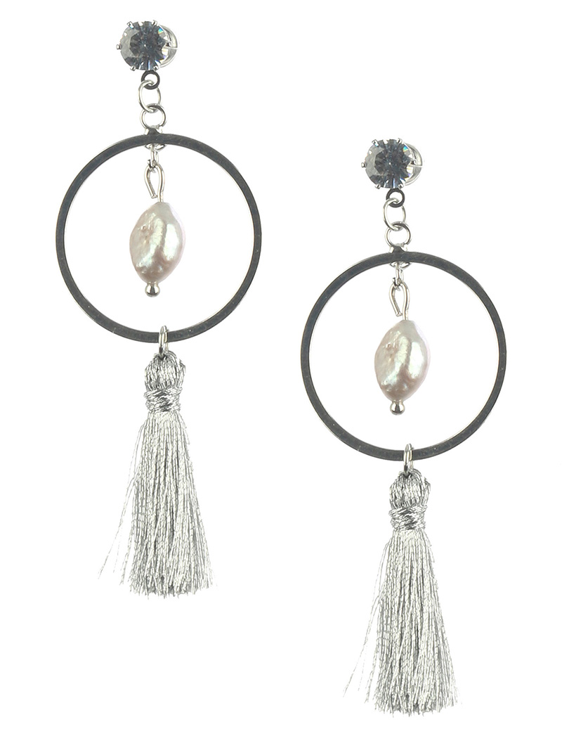 New Pearl Long Tassel Earrings In White, Silver, Creamy Gold Or Rose Gold