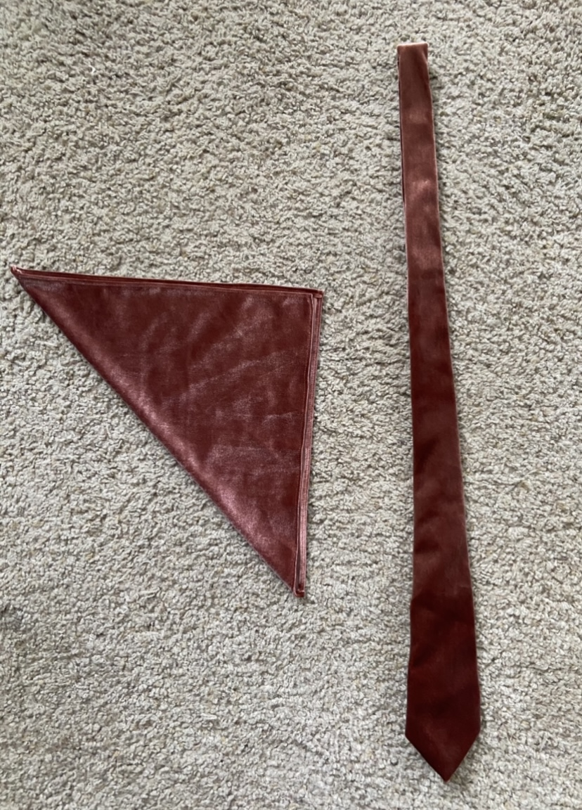 Terracotta Velvet Ties And Pocket Squares Set Of 4