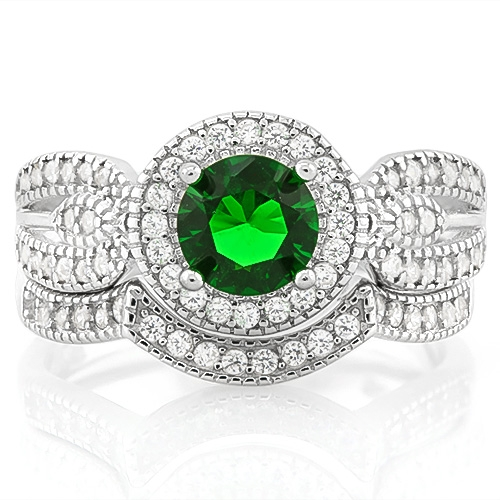 New 1 1/5 Carat Created Emerald & 2/5 Carat (sz 8) Flawless Created Diamond 925 Sterling Silver Halo Ring