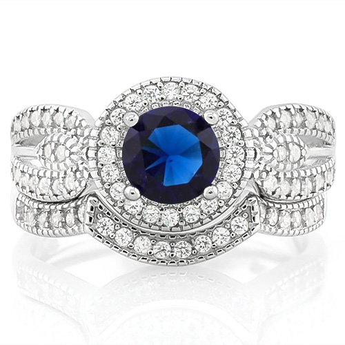 New 1 1/5 Carat Created Blue Sapphire & 2/5 Carat (sz 6) Flawless Created Diamond 925 Sterling Silver Halo Ring