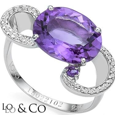 New Captivating Lolo & Co 4.85 Carat Tw  Eclipse Amethyst & Genuine Diamond Platinum Over 0.925 Sterling Silver Ring
