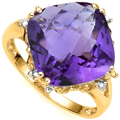 New 6.11 Carat Amethyst & Diamond 10kt Solid Gold Ring