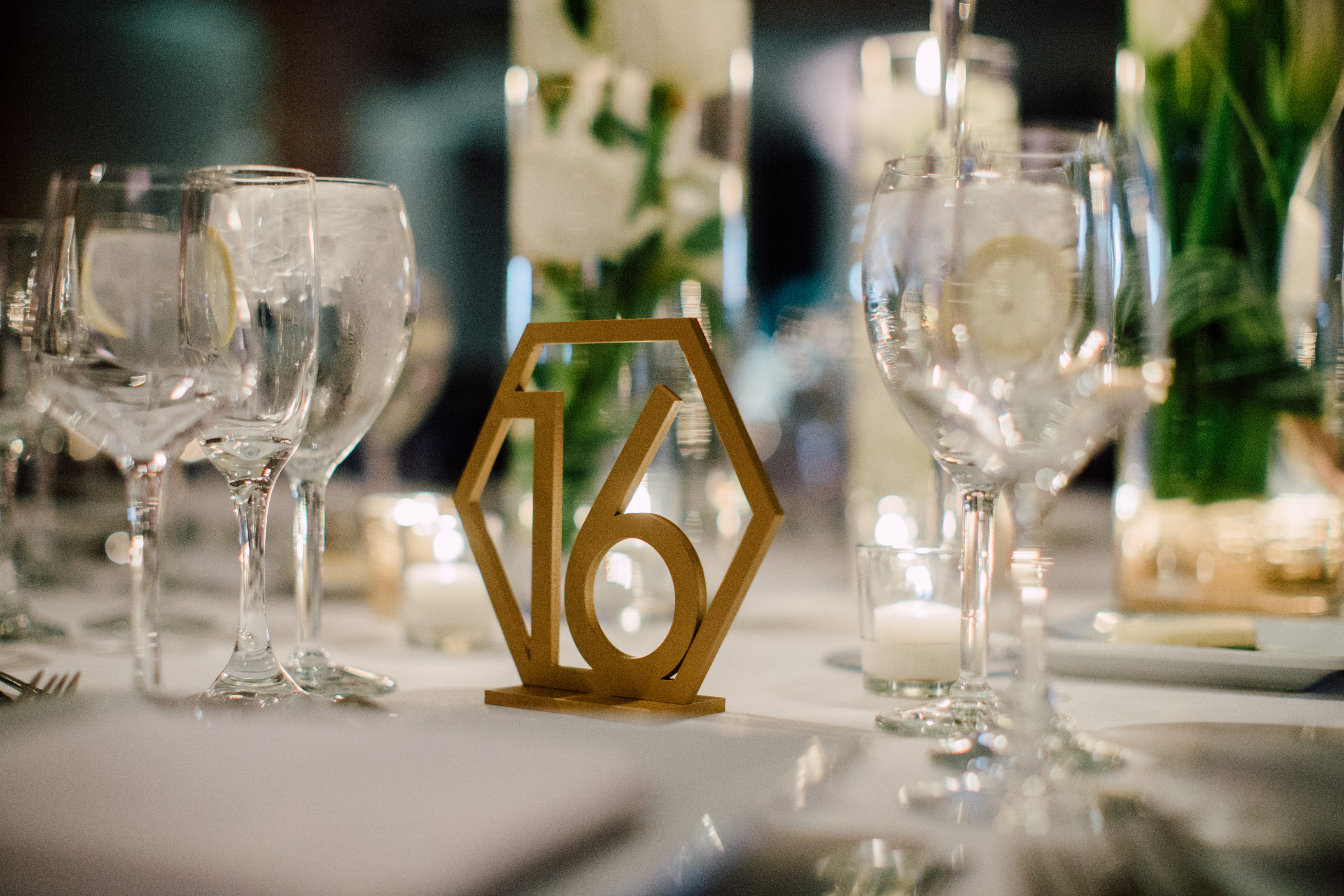 Gold Hexagon Table Numbers 1-18