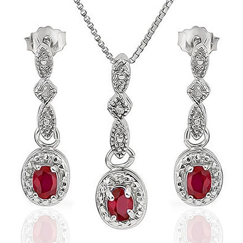 New Heavy 3/5 Carat Ruby & Diamond 925 Sterling Silver Set