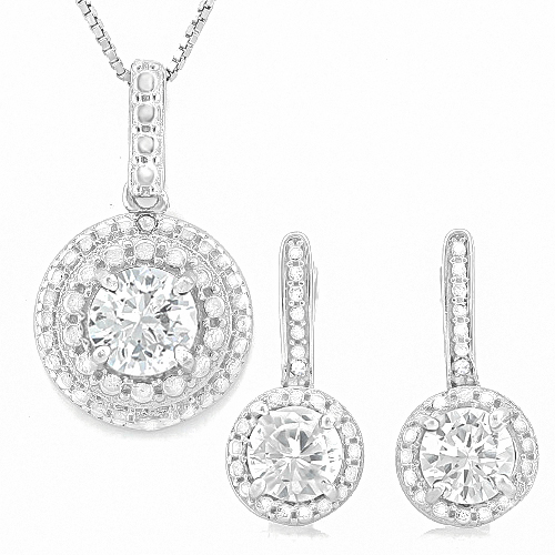 New 4 Carat Created White Sapphires & Genuine Diamonds 925 Sterling Silver Necklace Earring Set