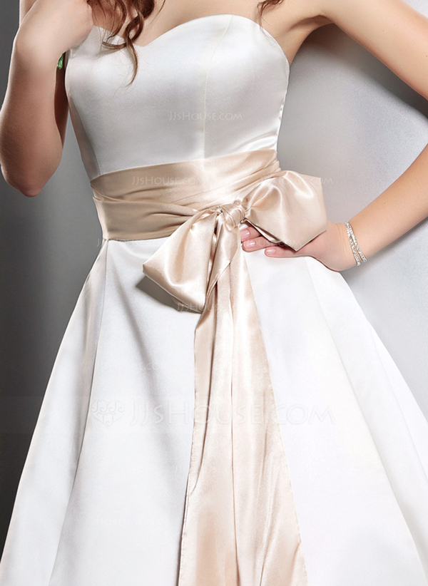 Simple Champagne Charmeuse Sash With Bow