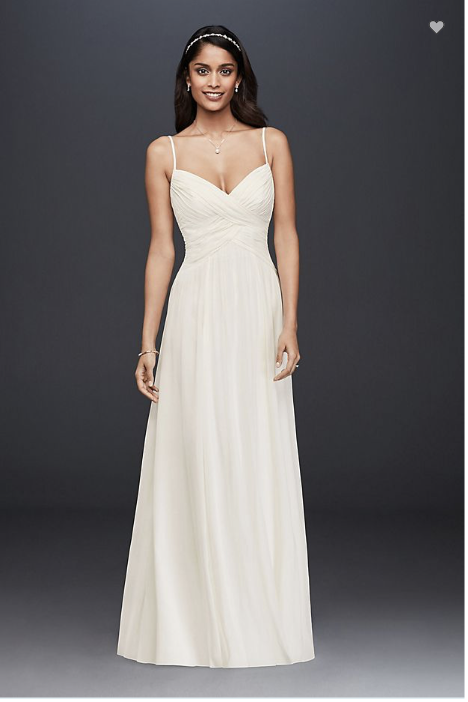 David's Bridal - David's Bridal Ruched Bodice Chiffon A-line Wedding Dress W/ Dress Bag
