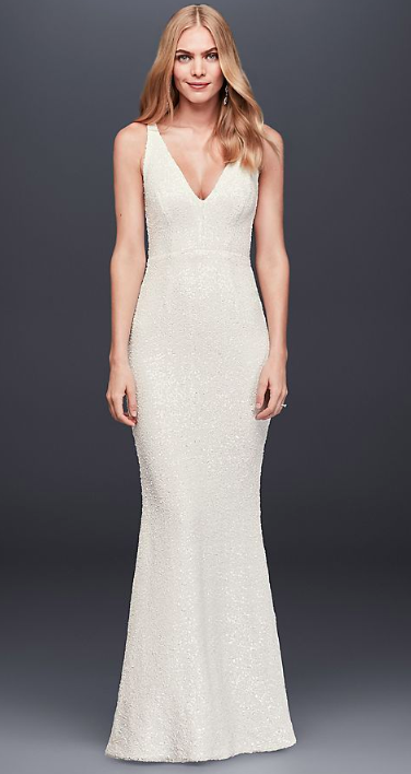 David's Bridal - Allover Sequined V-neck Sheath Gown