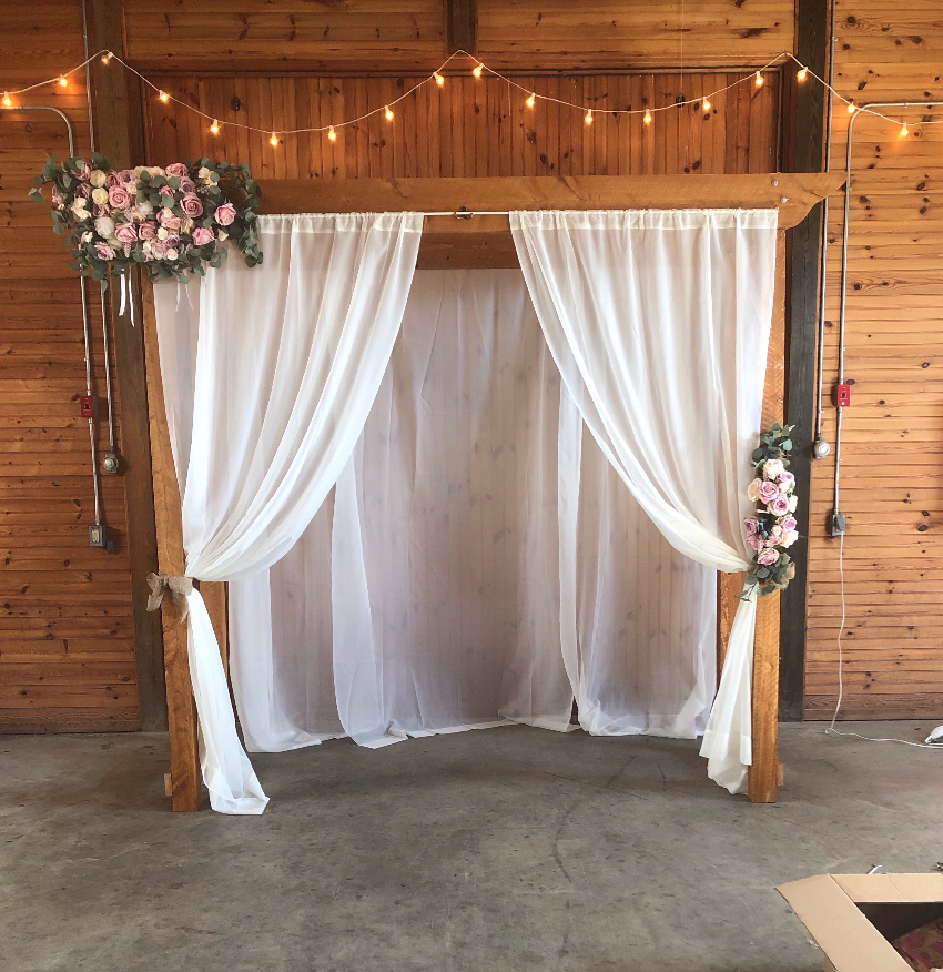 Faux Floral Corner Swag And Tie Back For Wedding Arch