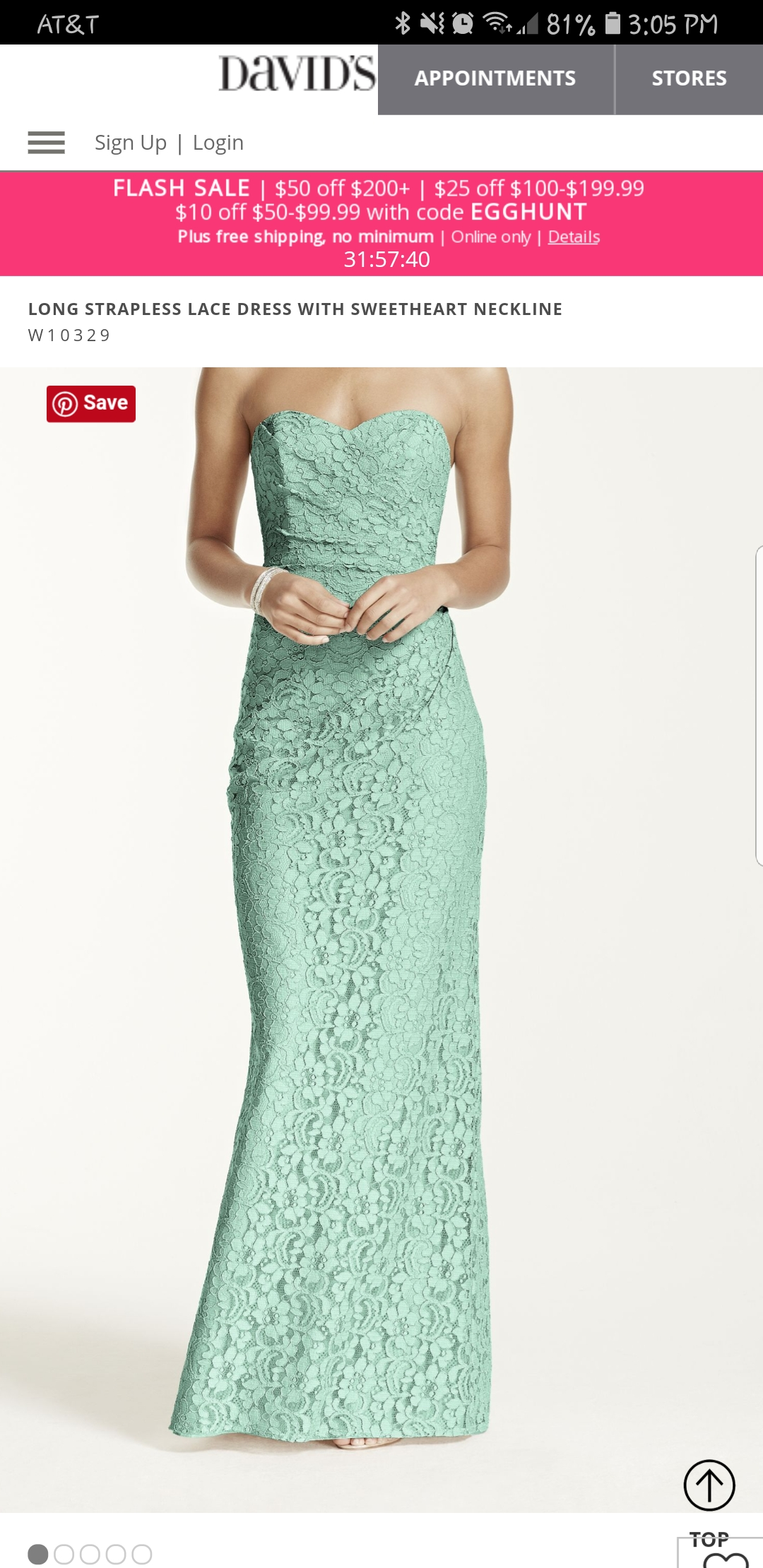 David's Bridal - Mint Green Lace Bridesmaid Dress