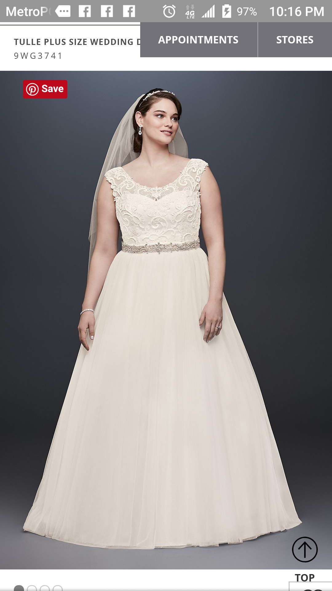 David\'s Bridal - Tulle Plus Size Wedding Dress With Lace Cap Sleeves ...