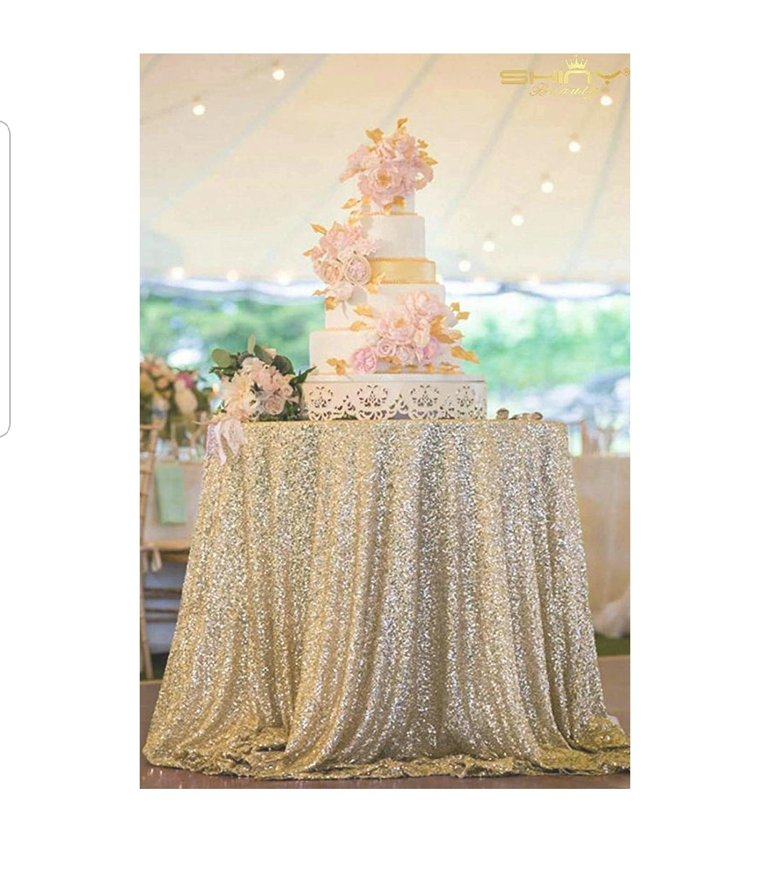 Matte Gold Sequin Table Cloth -round 120'