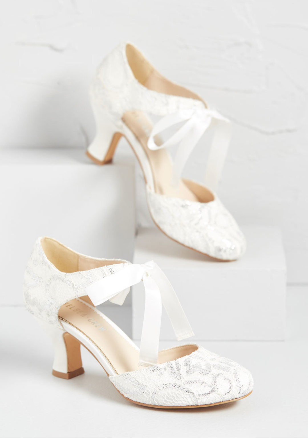 Chelsea Crew White Lace and Silver Heels
