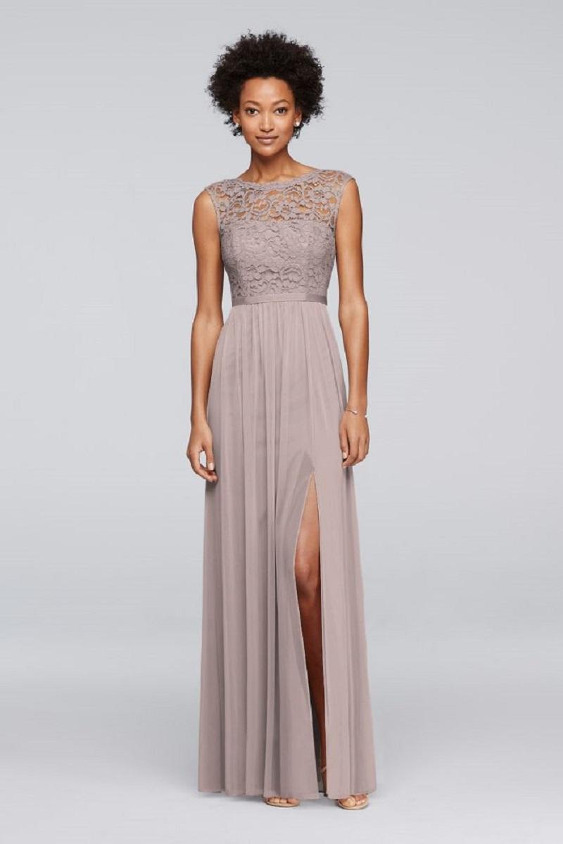 David\'s Bridal - David\'s Bridal Long Bridesmaid Dress Lace Bodice ...