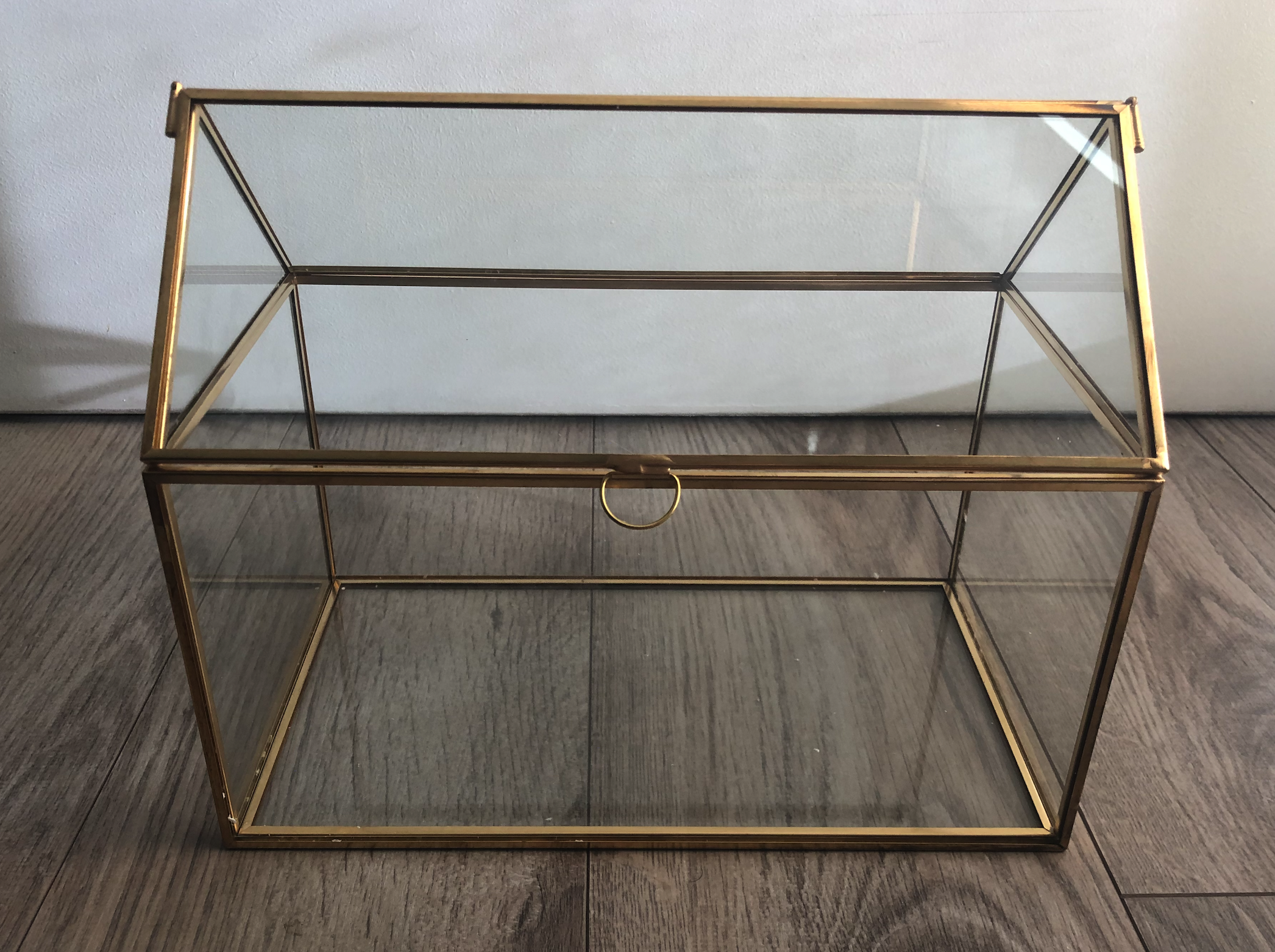 Geometric Gold Glass Card Box