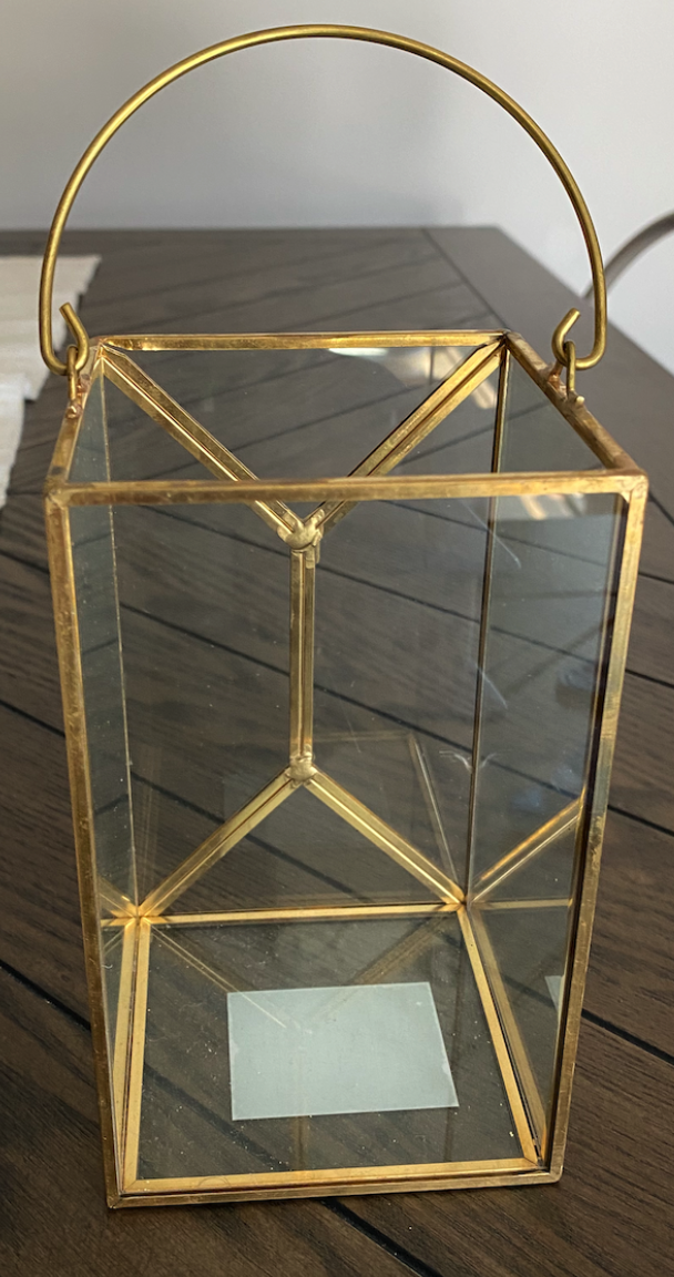 Tall Geometric Glass And Gold Box With Handle ( Set Of 3)